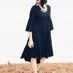 LuLaRoe Maurine Black Midi Dress